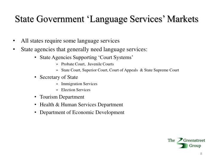 State Government 'Language Services' Markets