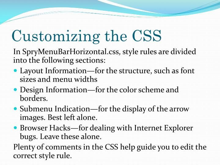 Customizing the CSS