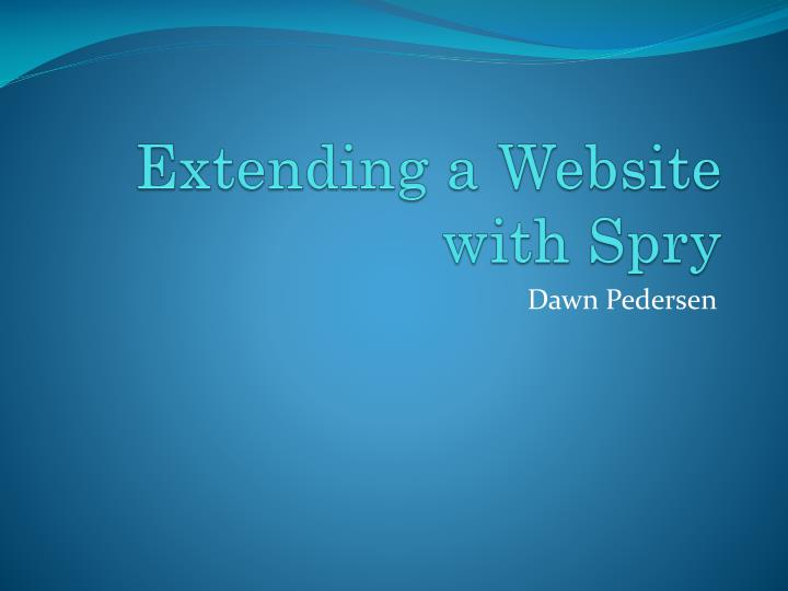 Extending a website with spry