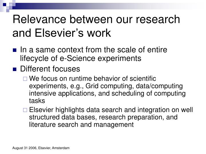 Relevance between our research and Elsevier's work