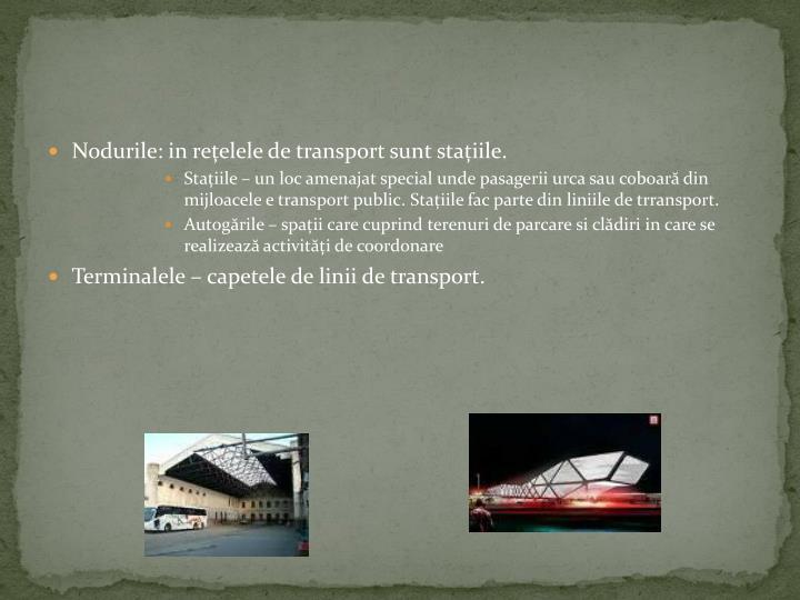 Nodurile: in rețelele de transport sunt stațiile.