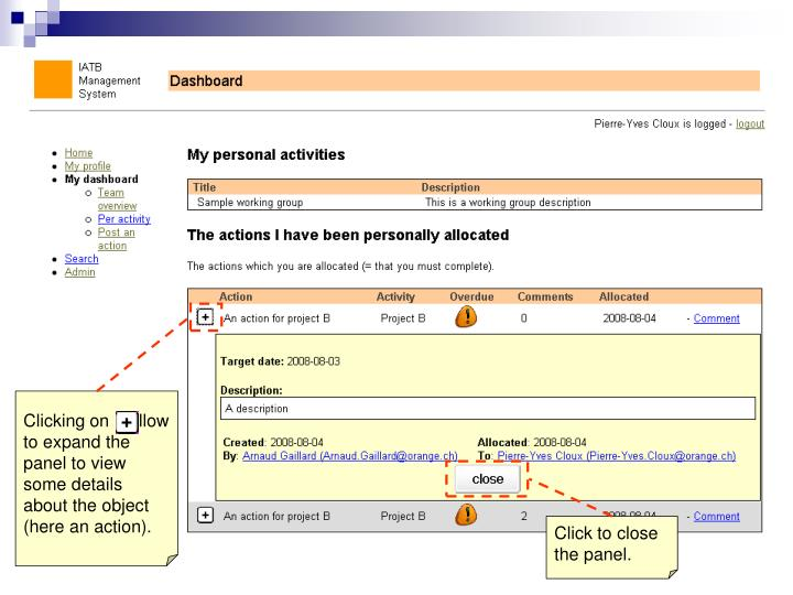 Clicking on    allow to expand the panel to view some details about the object (here an action).