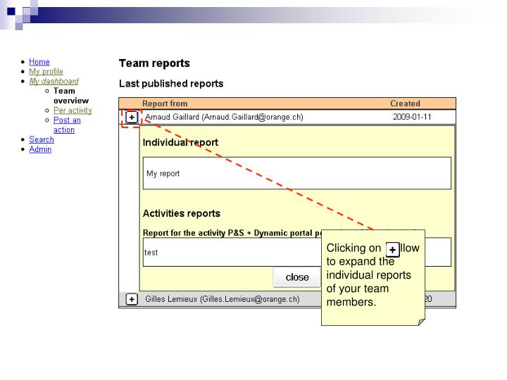 Clicking on    allow to expand the individual reports of your team members.