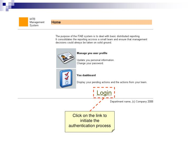 Click on the link to initiate the authentication process