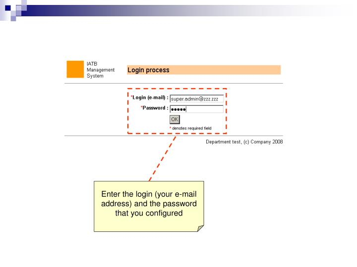 Enter the login (your e-mail address) and the password that you configured
