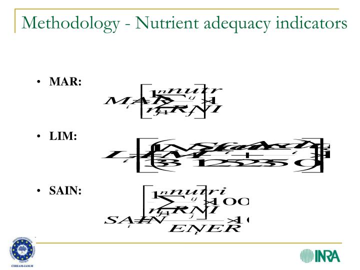 Methodology - Nutrient adequacy indicators