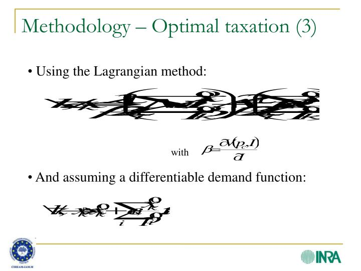 Methodology – Optimal taxation (3)
