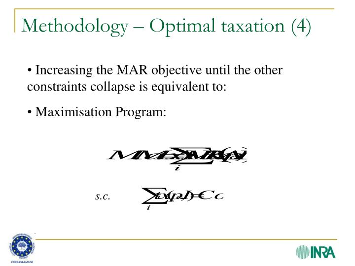 Methodology – Optimal taxation (4)