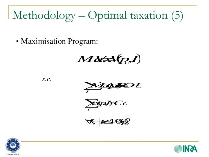 Methodology – Optimal taxation (5)