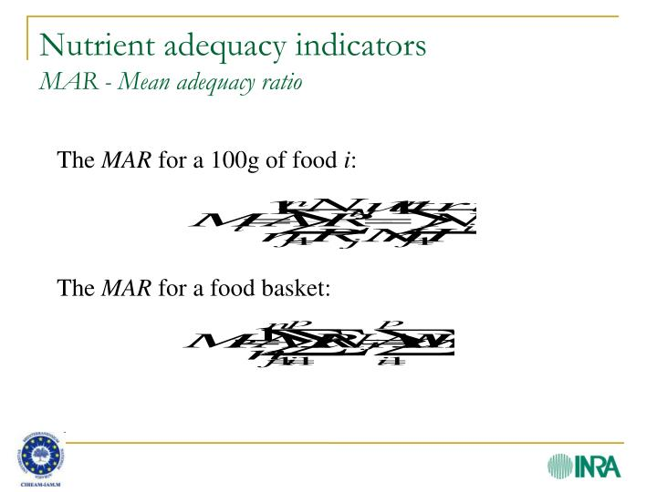 Nutrient adequacy indicators