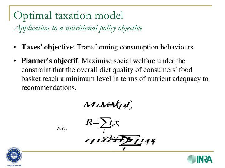 Optimal taxation model