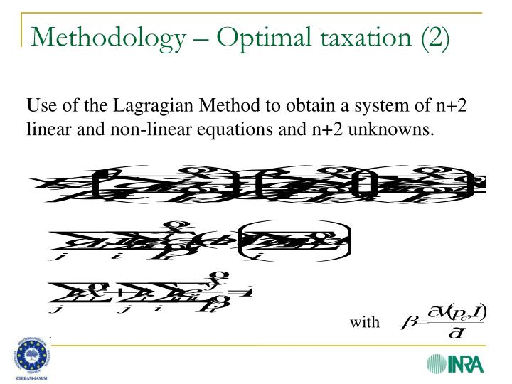 Methodology – Optimal taxation (2)