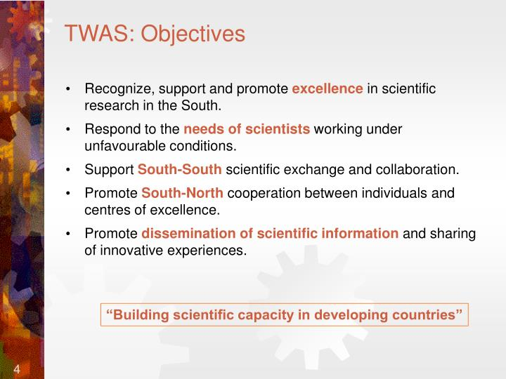 TWAS: Objectives