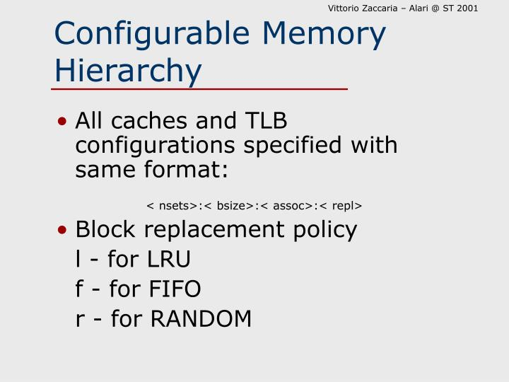 Configurable Memory Hierarchy