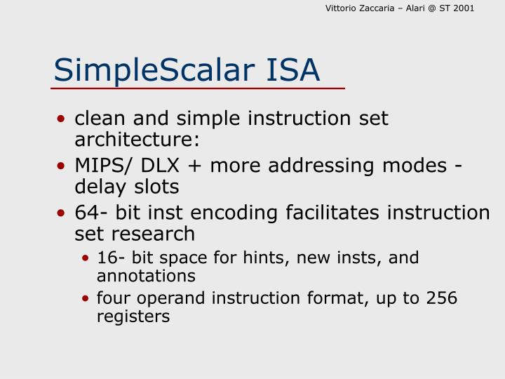SimpleScalar ISA