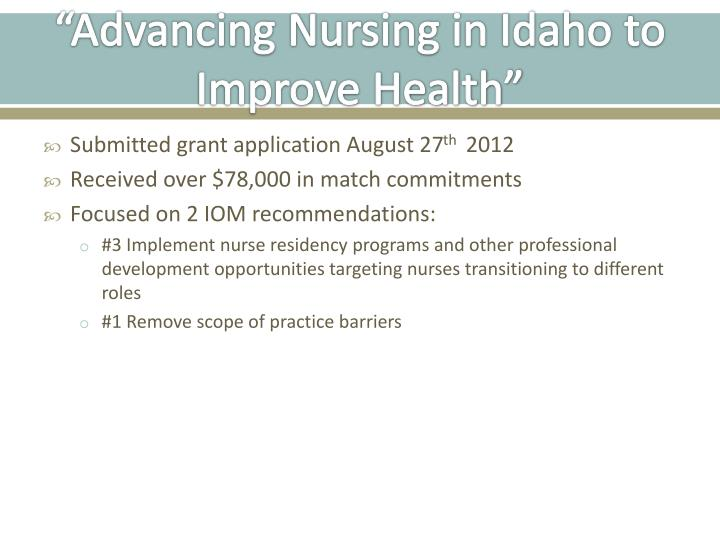 """Advancing Nursing in Idaho to Improve Health"""