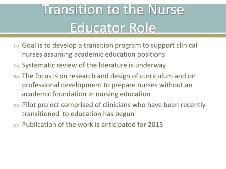 Transition to the Nurse Educator Role