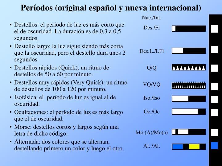 Períodos (original español y nueva internacional)