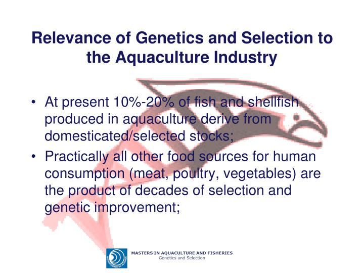 Relevance of Genetics and Selection to the Aquaculture Industry