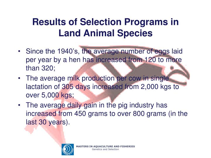 Results of Selection Programs in Land Animal Species