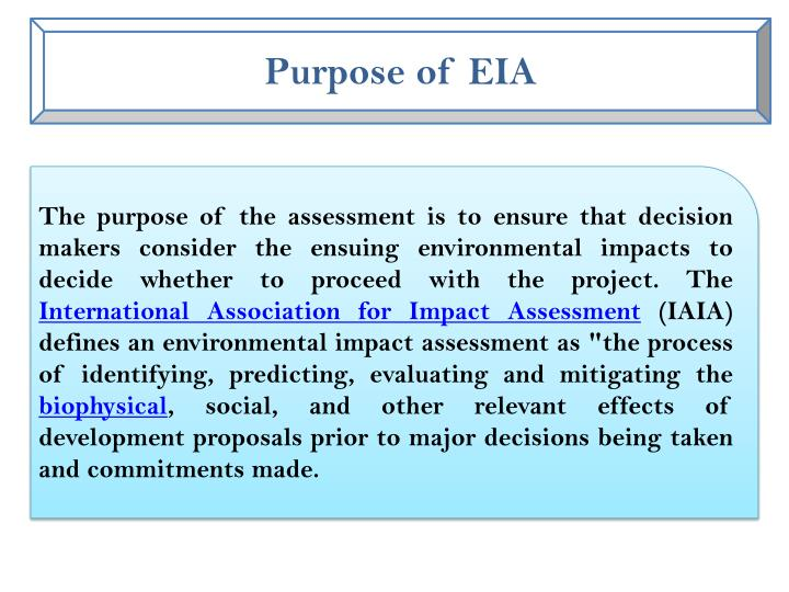 Purpose of EIA