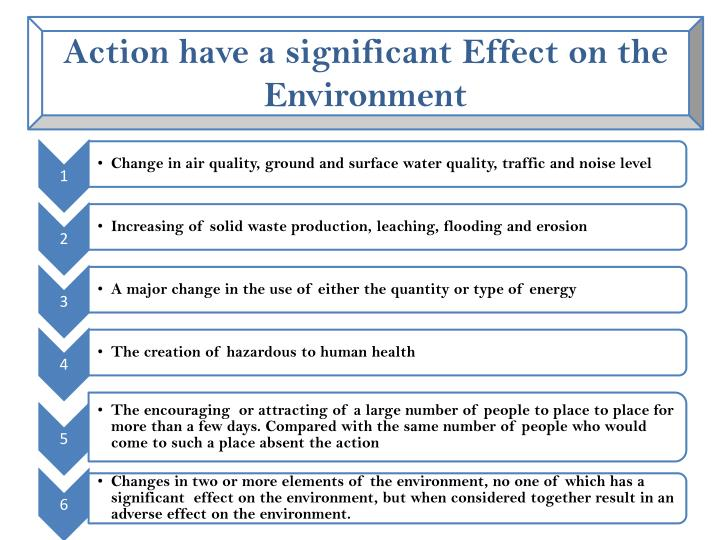 Action have a significant Effect on the Environment