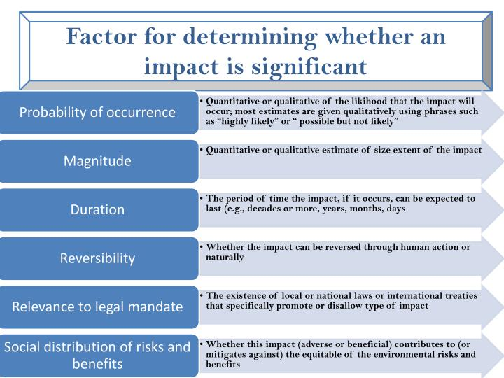 Factor for determining whether an impact is significant