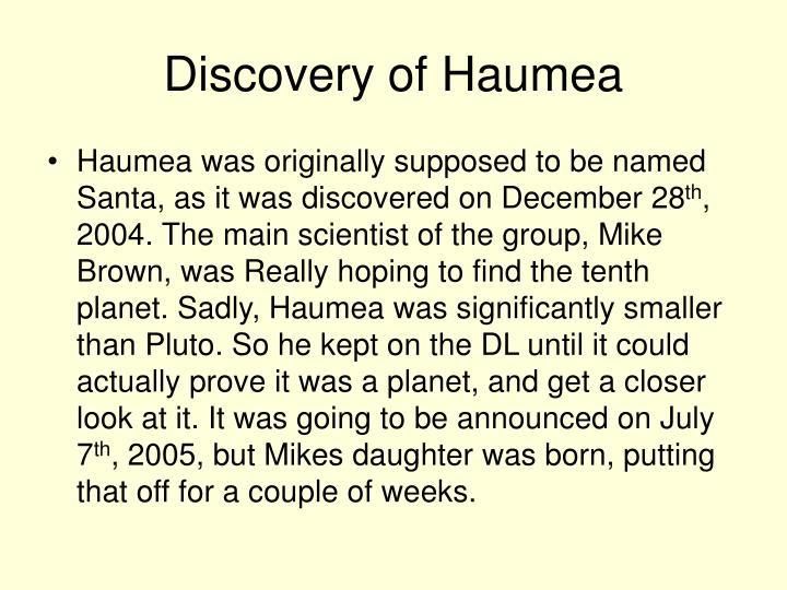 Discovery of Haumea