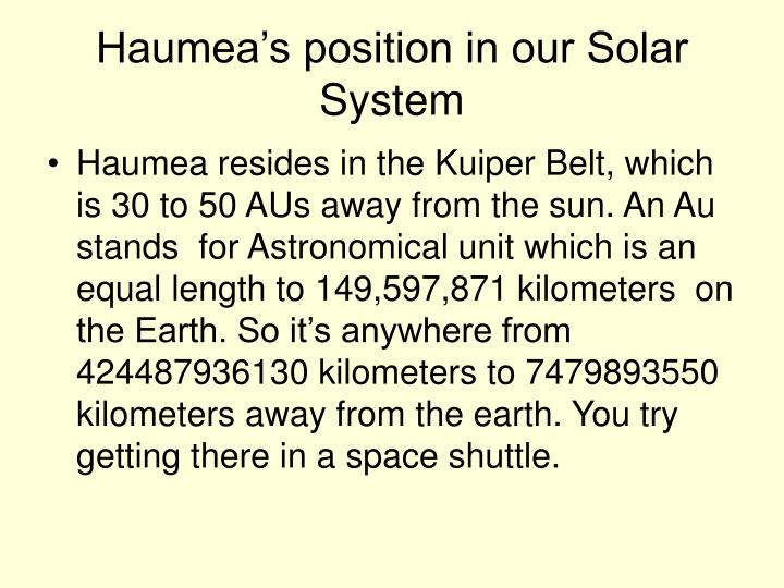 Haumea s position in our solar system