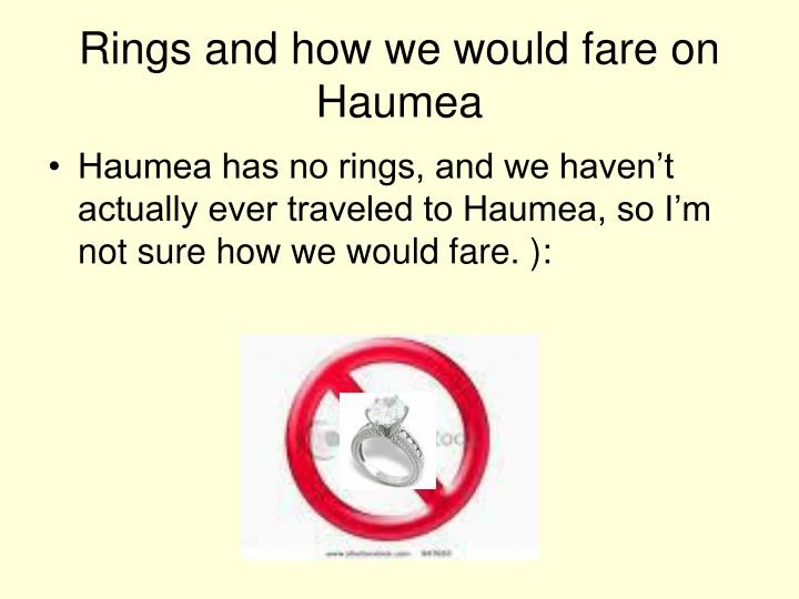 Rings and how we would fare on Haumea