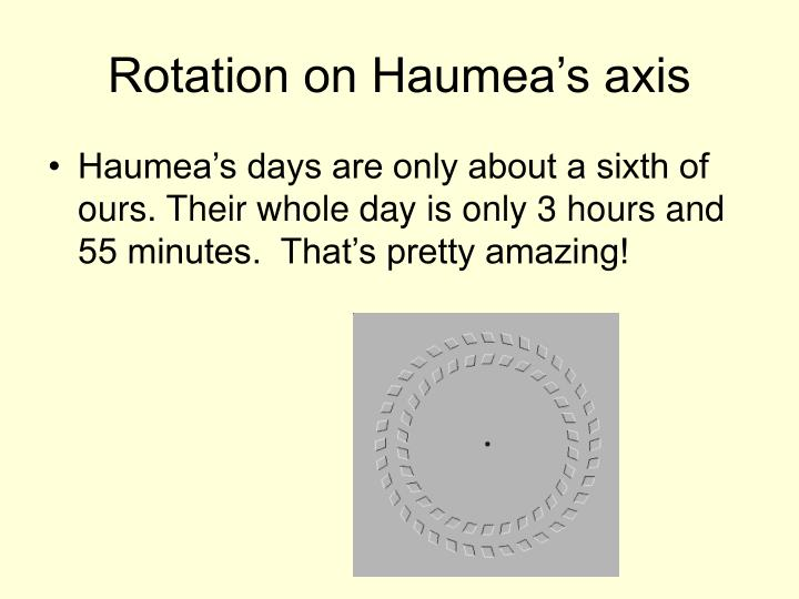 Rotation on Haumea's axis