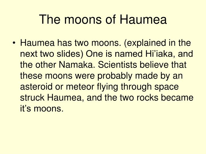 The moons of Haumea