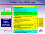 content of the itc surveys