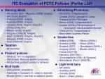 itc evaluation of fctc policies partial list