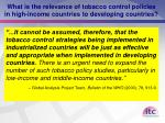 what is the relevance of tobacco control policies in high income countries to developing countries