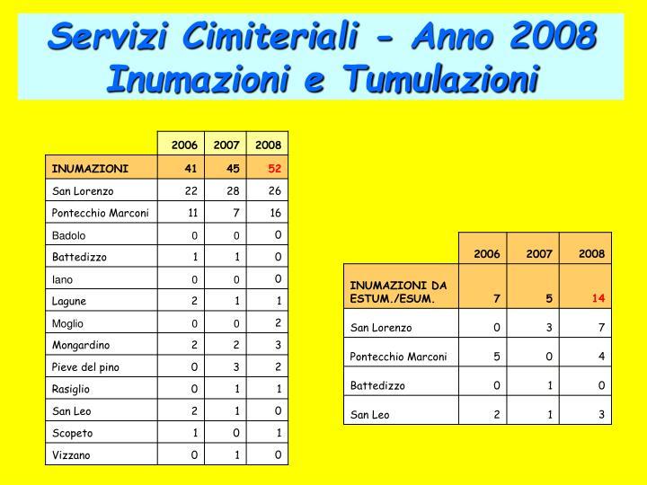Servizi Cimiteriali - Anno 2008