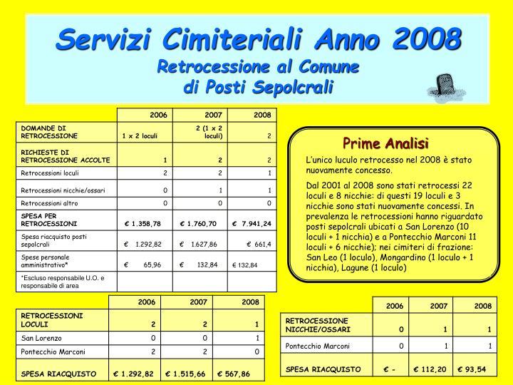 Servizi Cimiteriali Anno 2008