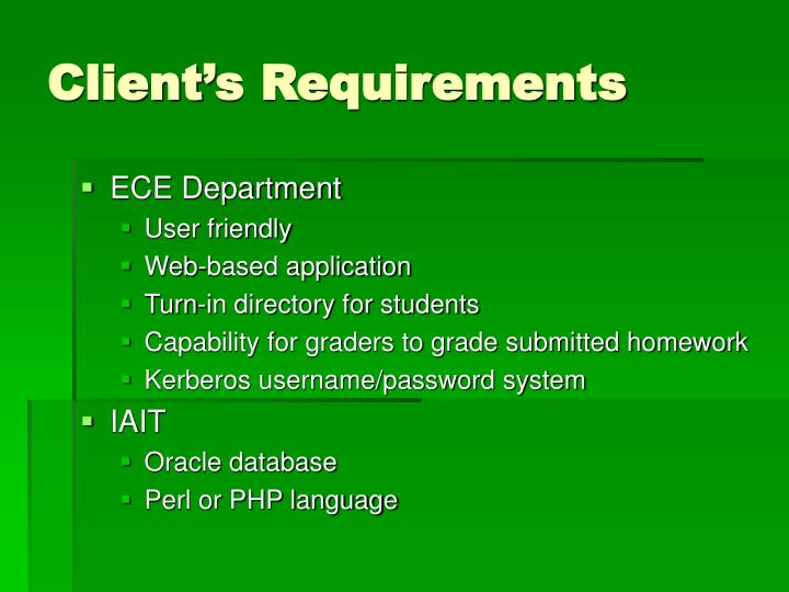 Client's Requirements
