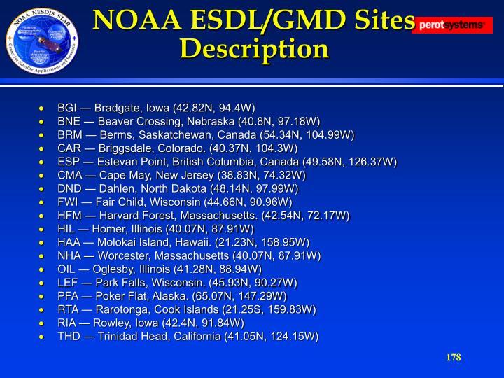 NOAA ESDL/GMD Sites Description