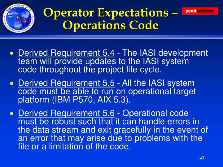 Operator Expectations – Operations Code