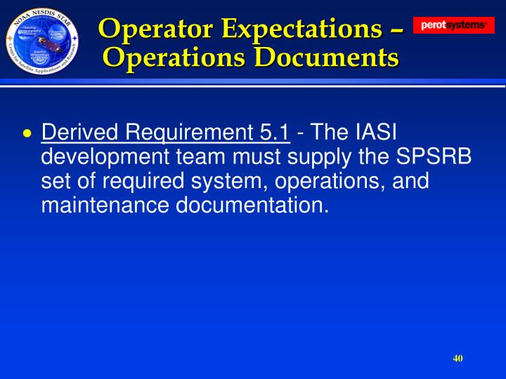 Operator Expectations – Operations Documents