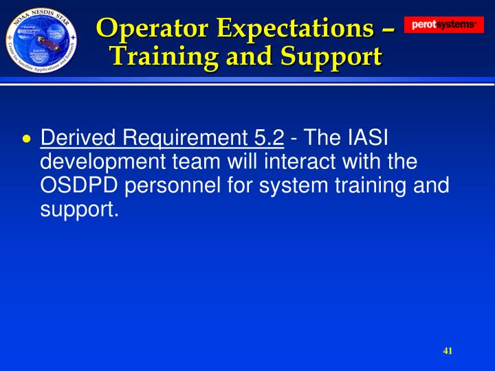 Operator Expectations – Training and Support
