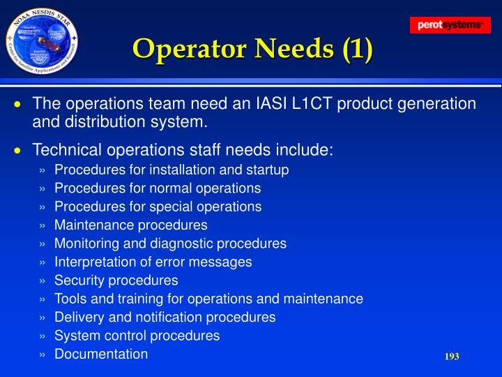 Operator Needs (1)