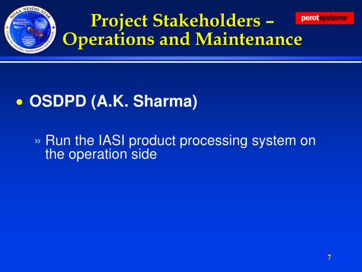 Project Stakeholders – Operations and Maintenance