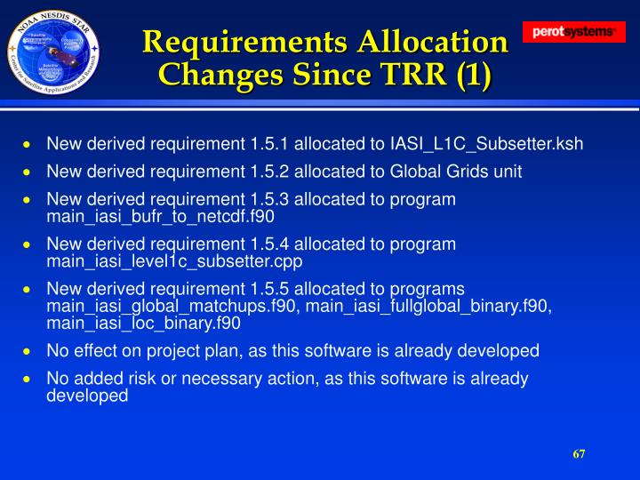 Requirements Allocation Changes Since TRR (1)