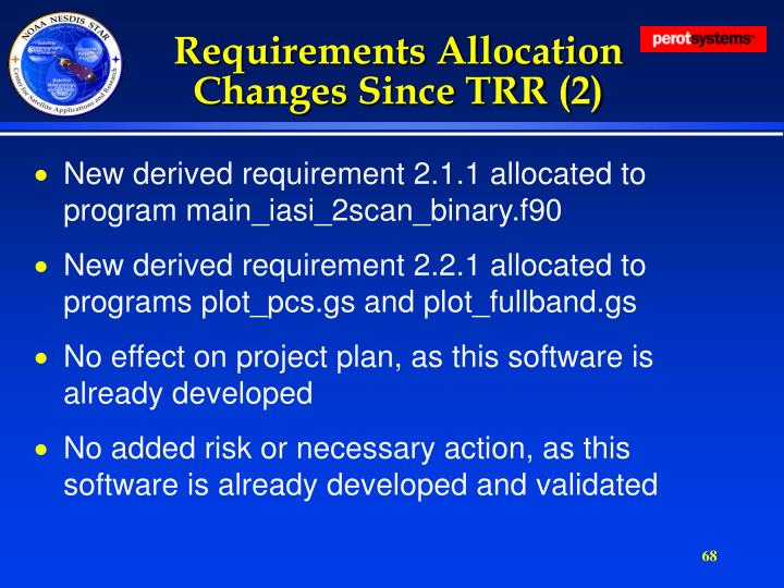Requirements Allocation Changes Since TRR (2)