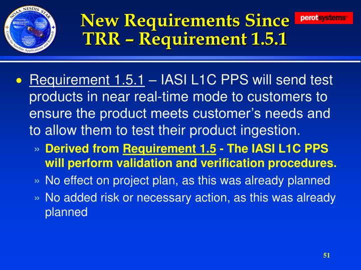 New Requirements Since TRR – Requirement 1.5.1