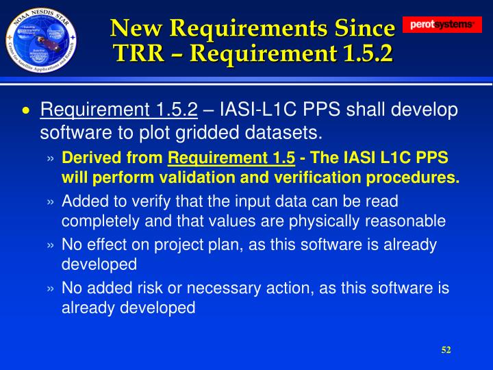 New Requirements Since TRR – Requirement 1.5.2