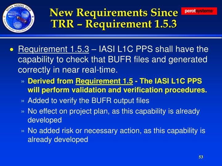 New Requirements Since TRR – Requirement 1.5.3