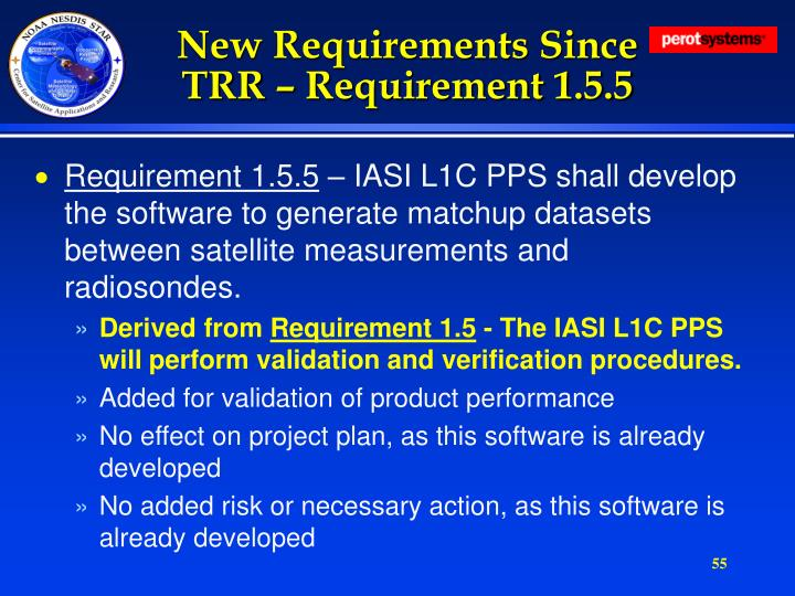 New Requirements Since TRR – Requirement 1.5.5